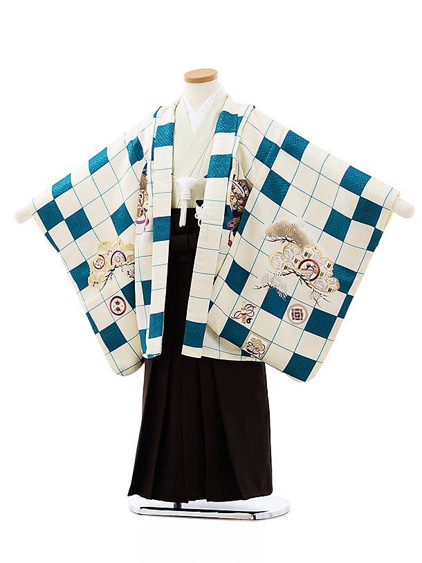 七五三レンタル(5歳男袴)5752白グリーン市松宝尽くし鷹xこげ茶袴
