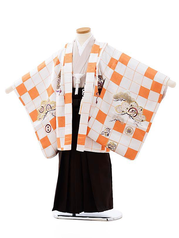 七五三レンタル(5歳男袴)5753白オレンジ市松宝尽くし鷹xこげ茶袴
