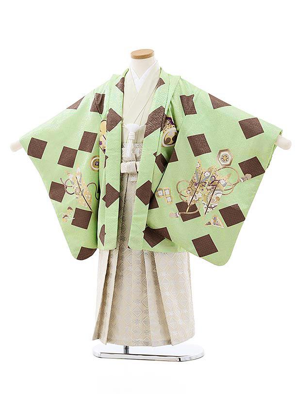 七五三レンタル(5歳男袴)5755ミントグリーン菱兜x白シルバー袴