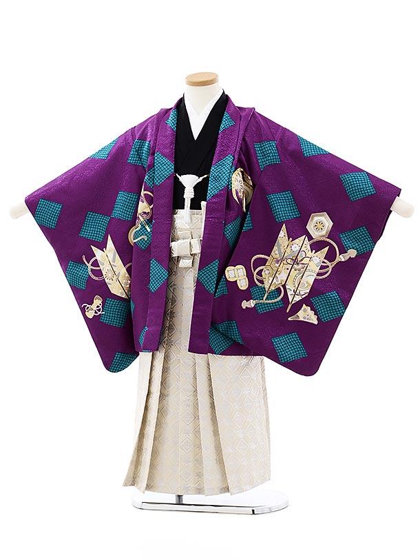 七五三レンタル(5歳男袴)5757パープルターコイズ菱かぶとx白シルバー袴