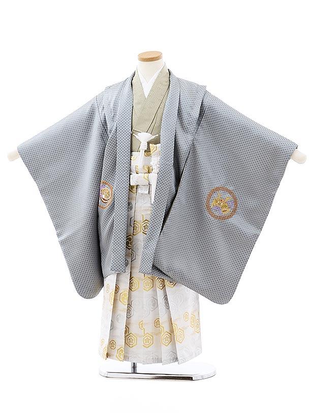 七五三レンタル(5歳男袴)5758グレー地刺繍兜鷹x白亀甲袴