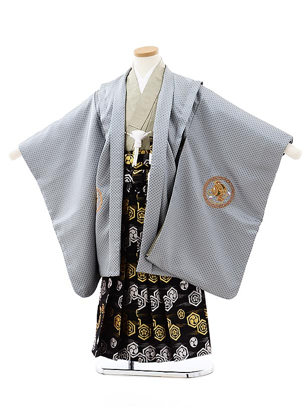 七五三レンタル(5歳男袴)5759グレー地刺繍鷹兜x黒亀甲袴