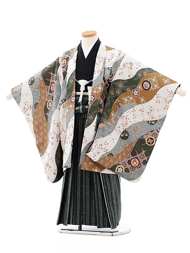 七五三レンタル(5歳男袴)5760白グリーンからし流しx黒グリーン袴