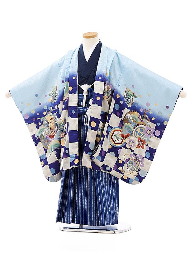七五三レンタル(5歳男袴)5762水色市松ぼかし兜x紺ストライプ袴