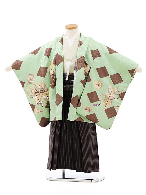 七五三レンタル(4歳,5歳男袴)5765ミントグリーン菱かぶとx茶シルバー袴