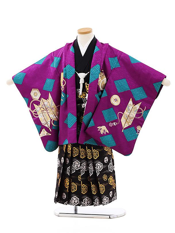 七五三レンタル(4歳,5歳男袴)5766パープルターコイズ菱かぶとx黒亀甲袴