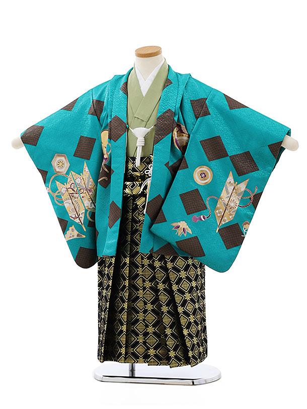 七五三レンタル(4歳,5歳男袴)5767ターコイズ菱かぶとx黒ゴールド袴