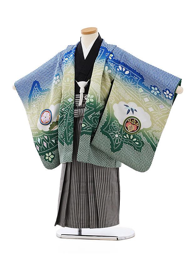 七五三レンタル(4歳,5歳男袴)5768ブルーぼかし疋田柄鷹x黒白縞袴