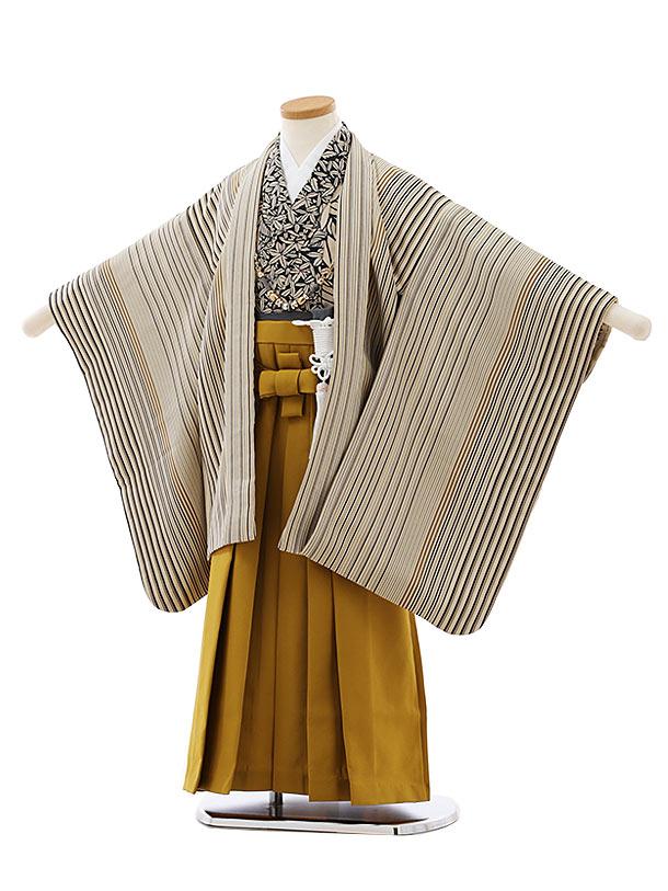 七五三レンタル(5歳男袴)5769ベージュストライプxからし色袴