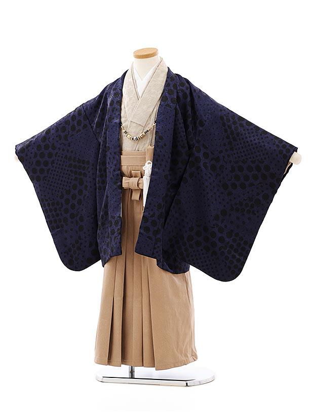 七五三レンタル(5歳男袴)5770紺地ドットxベージュレザー風袴