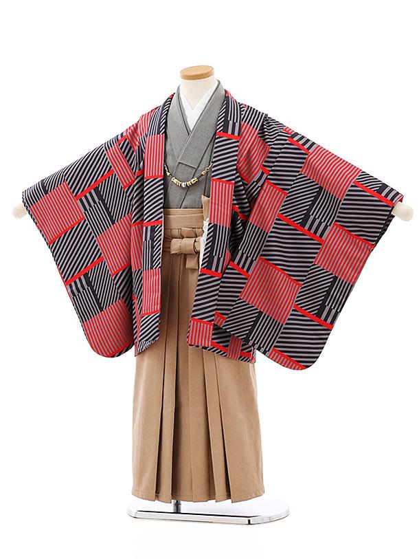 七五三レンタル(5歳男袴)5772黒赤変わり柄xベージュレザー風袴