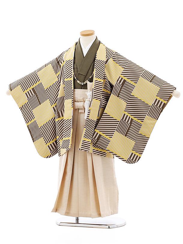 七五三レンタル(5歳男袴)5773ベージュ地変わり柄xアイボリーラメ袴