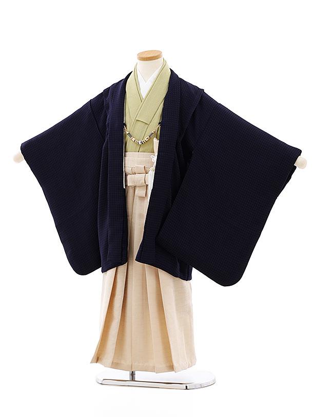 七五三レンタル(5歳男袴)5774紺xアイボリーラメ袴