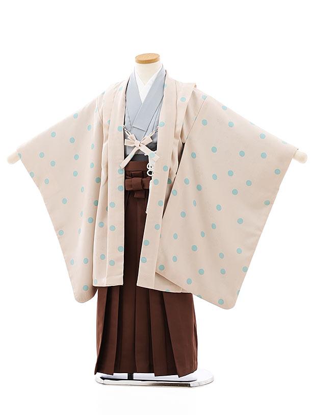 七五三レンタル(5歳男袴)5775ベージュ水玉ドットx茶色袴