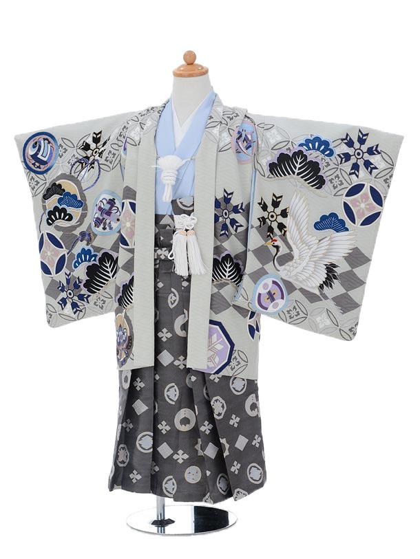 かんたん753レンタル(5歳男の子袴)5776乙葉 グレー×グレー袴