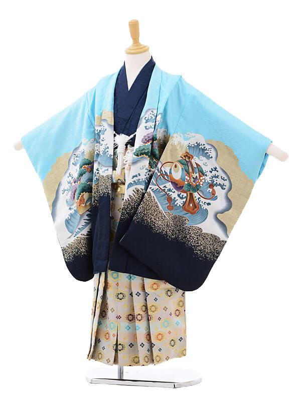 かんたん七五三レンタル(5歳男の子袴)5780水色鷹に宝舟×白糸袴