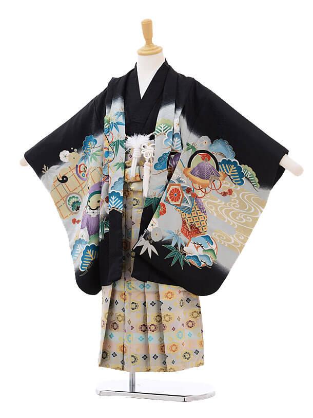 かんたん七五三レンタル(5歳男の子袴)5786黒地かぶとに巻物×白糸袴