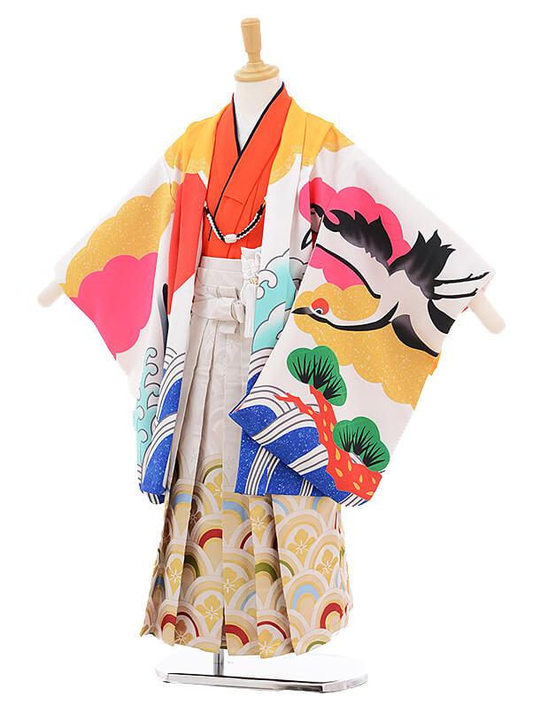 かんたん七五三レンタル(5歳男の子袴)5789花わらべ白赤富士に鶴×白地袴