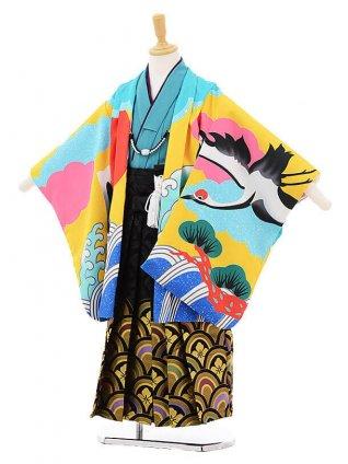 かんたん七五三レンタル(5歳男児袴)5790花わらべ黄グリーン富士に鶴×黒地袴