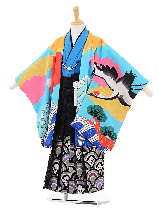かんたん七五三レンタル(5歳男児袴)5791花わらべ水色ブルー富士に鶴×黒地袴