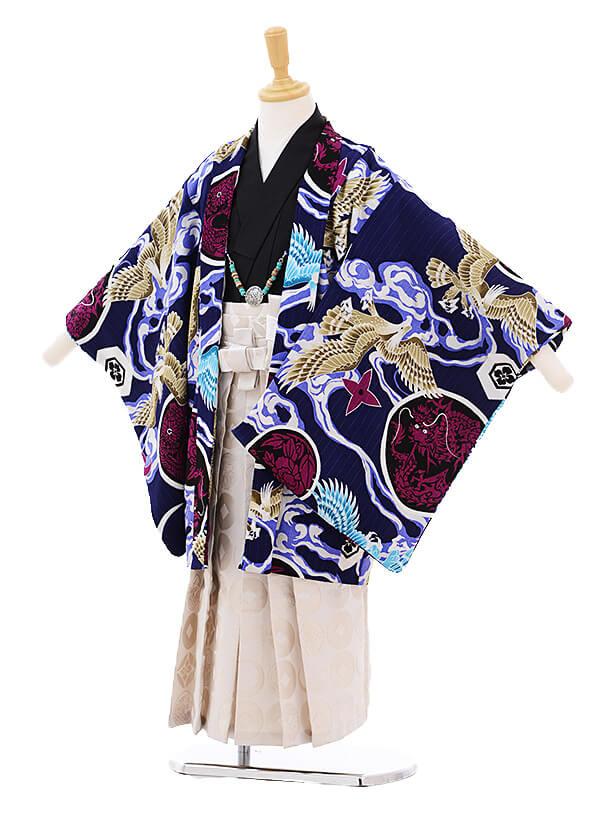 かんたん七五三(5歳男の子袴)5792JAPANSTYLE鷹に丸紋紺×白地袴