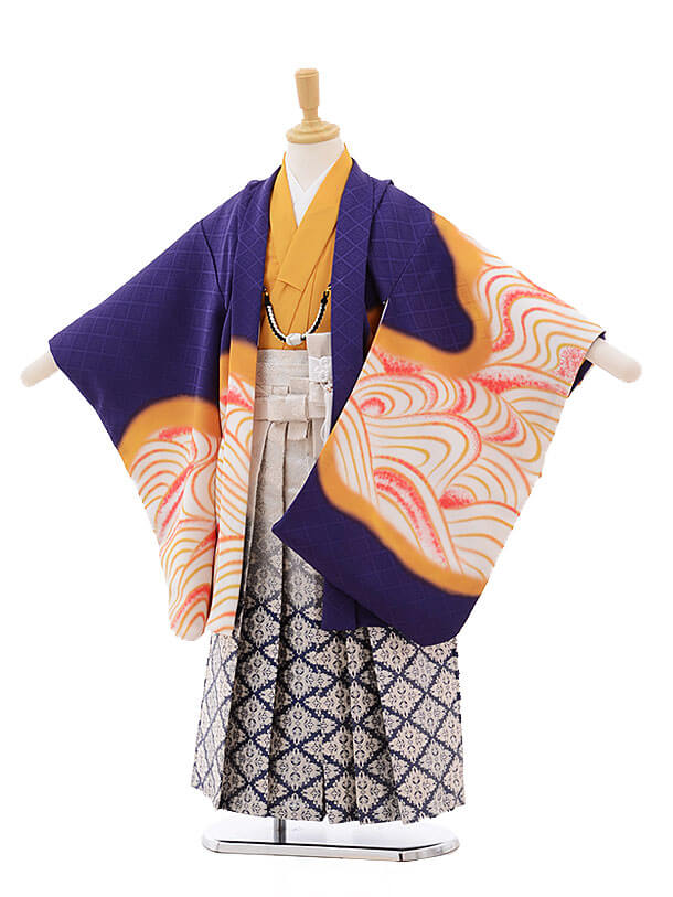かんたん七五三レンタル(5歳男の子袴)5795 花わらべ 紫地 虎×白地袴