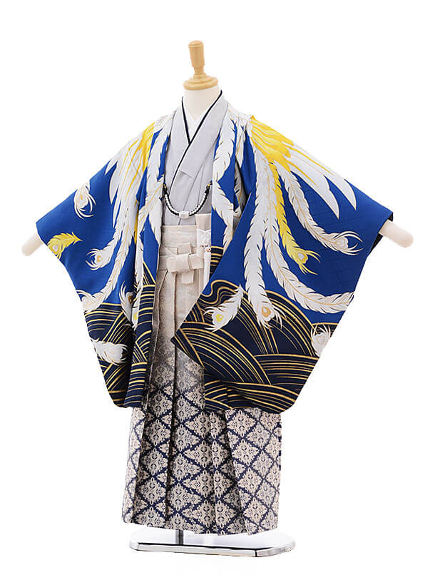 かんたん七五三レンタル(5歳男児袴)5796 花わらべ ブルー地 鳳凰×白地袴