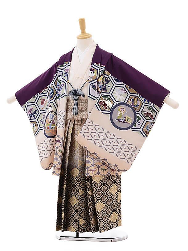 かんたん七五三(5男袴)5799 式部浪漫 紫 吉祥×ベージュ地紺袴