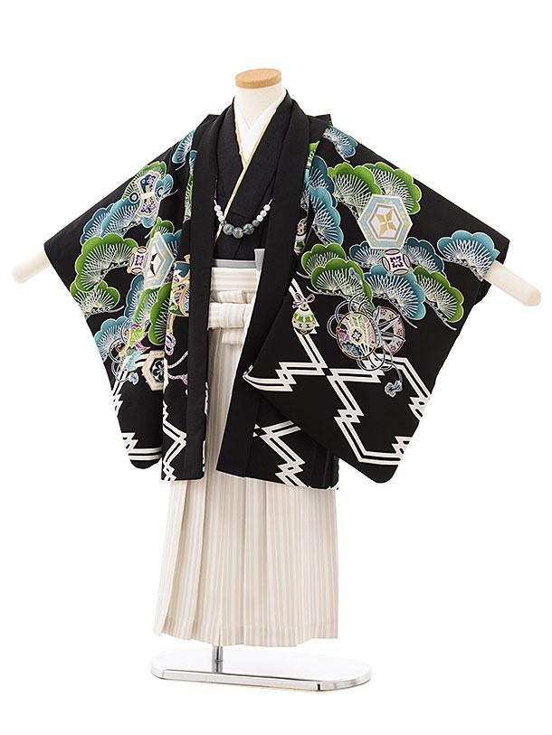 かんたん七五三レンタル(5歳男児袴)5803 黒地松富士に金の龍×白ストライプ袴