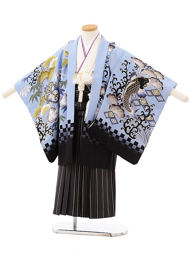 かんたん七五三レンタル(5歳男の子袴)5804 ブルー地鯉×黒ストライプ袴