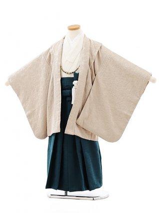 七五三レンタル(5歳男袴)5806ベージュ小花地模様xブルーグリーン袴