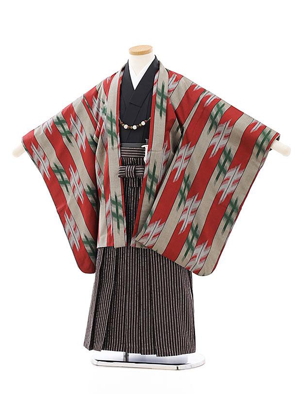 七五三レンタル(5歳男袴)5807伊勢崎銘仙赤グレー羽織x茶シルバー袴