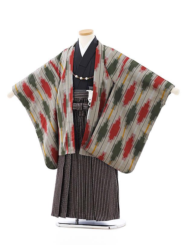 七五三レンタル(5歳男袴)5808伊勢崎銘仙グレー赤緑羽織x茶シルバー袴