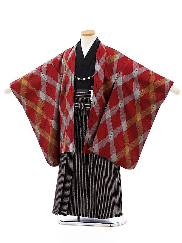 七五三レンタル(5歳男袴)5809伊勢崎銘仙赤グレー斜格子羽織x茶シルバー袴