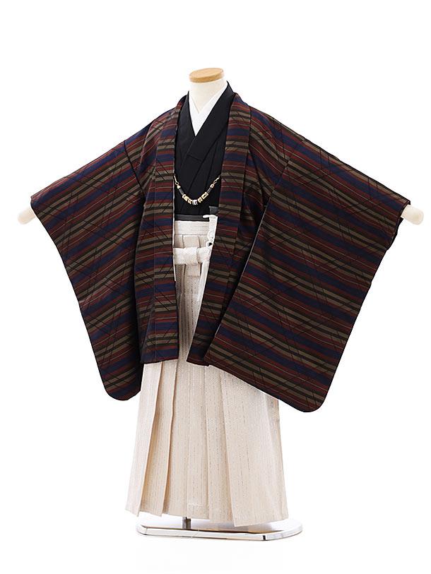 七五三レンタル(5歳男袴)5811紺エンジストライプx白シルバー袴