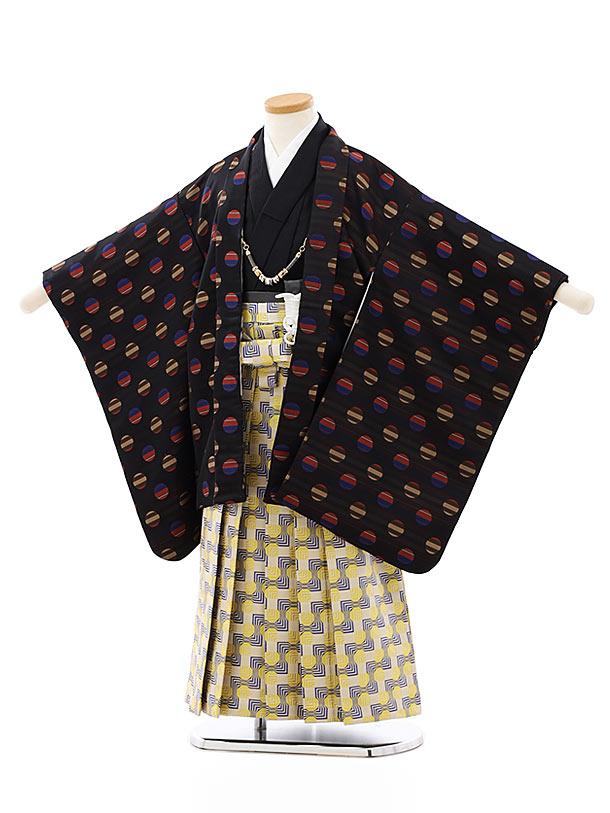 七五三レンタル(5歳男袴)5812黒エンジ変わりドットxベージュ紺黄袴