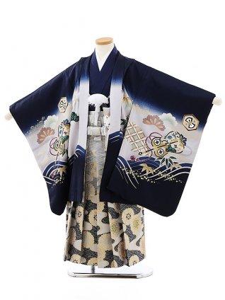 七五三レンタル(5歳男袴)(正絹)5813紺地波