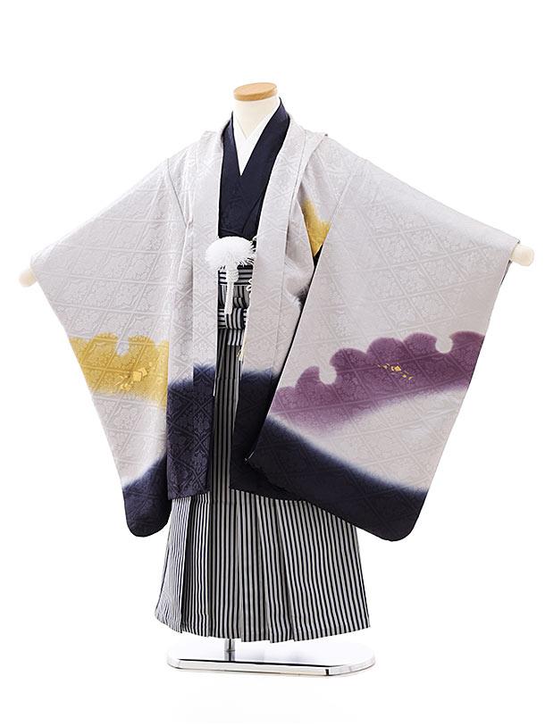 七五三レンタル(5歳男袴)(高級正絹)5814うすグレー地雪輪ぼかしx紺縞袴