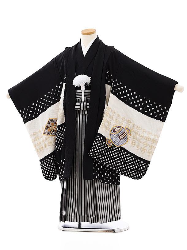 七五三レンタル(5歳男袴)(高級正絹)5815黒白刺繍鷹x黒白縞袴