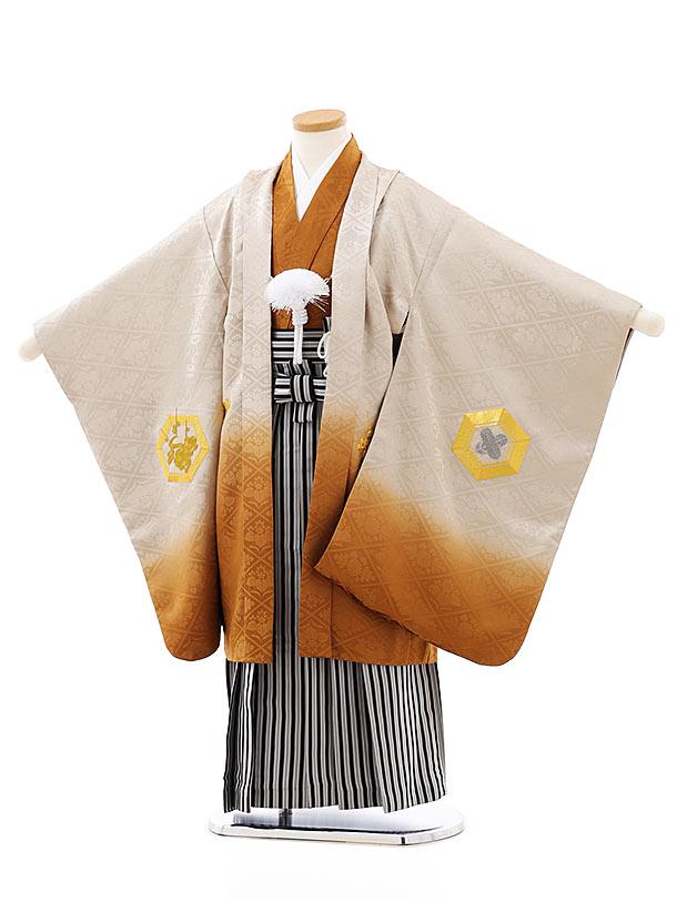 七五三レンタル(5歳男袴)(高級正絹)5817金茶ぼかし刺繍亀甲x黒白縞袴