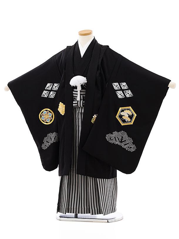 七五三レンタル(5歳男袴)(高級正絹)5818黒地刺繍かぶとx黒白縞袴