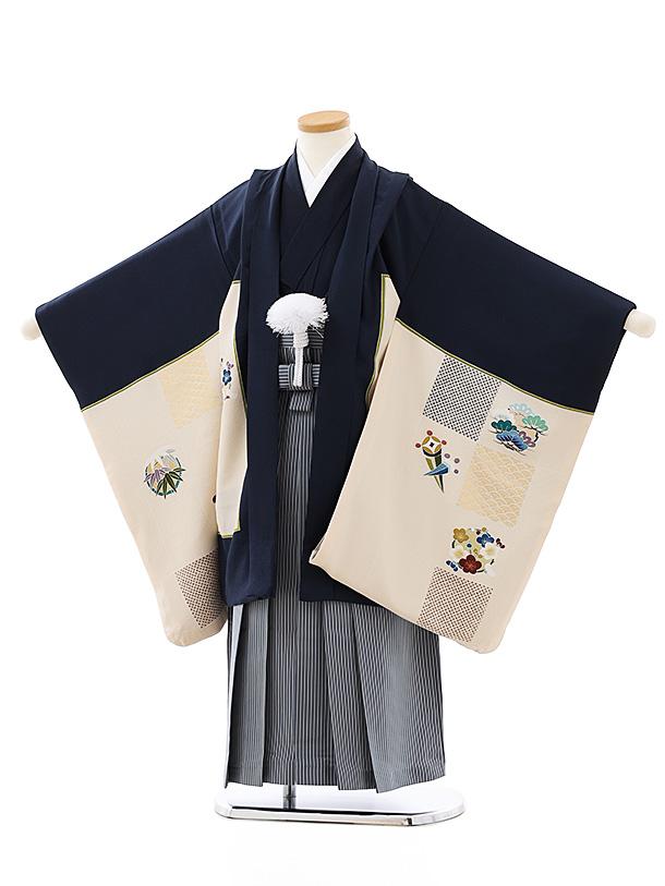 七五三レンタル(5歳男袴)(高級正絹)5819黒地市松宝尽くしx紺縞袴