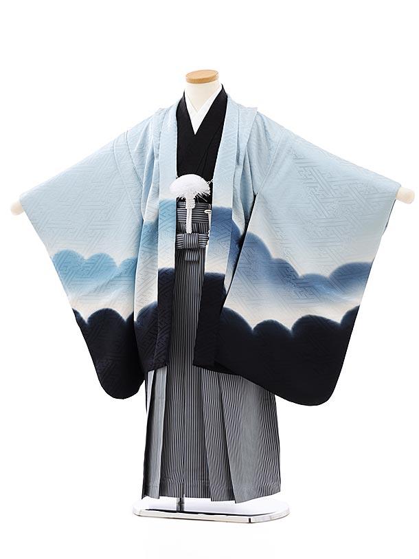 七五三レンタル(5歳男袴)(正絹)5821水色ぼかし雲x紺縞袴