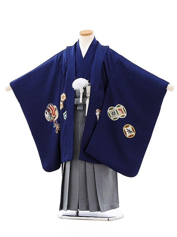 七五三レンタル(5歳男袴)(高級正絹)5822紺地吉祥文様x紺縞袴
