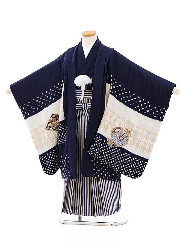 七五三レンタル(5歳男袴)(高級正絹)5823紺白刺繍鷹x紺ゴールド縞袴
