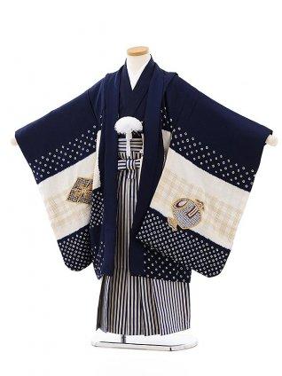 七五三レンタル(5歳男袴)(高級正絹)5824紺白刺繍兜x紺ゴールド縞袴