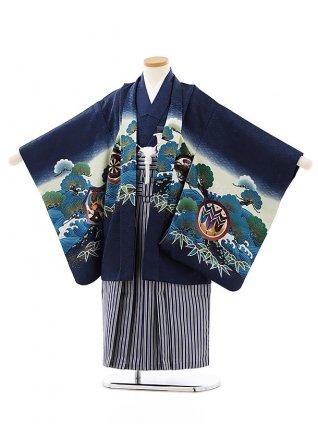 かんたん七五三レンタル(5歳男袴)5830紺地波に松兜x紺縞袴