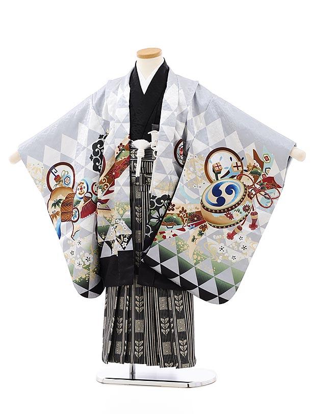 かんたん七五三レンタル(5歳男袴)5836グレー地吉祥文様兜x黒ゴールド袴