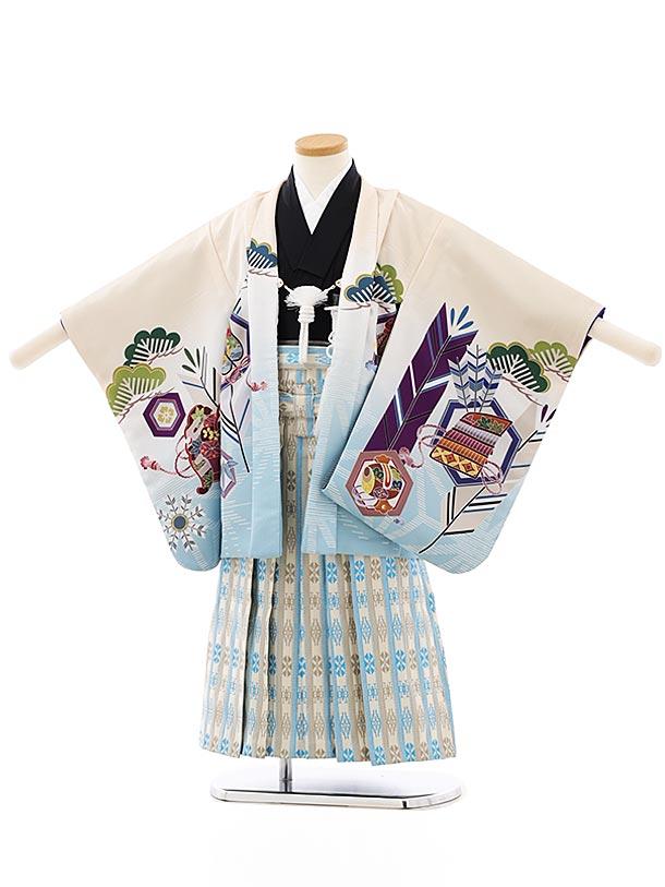 かんたん七五三レンタル(4歳,5歳男袴)5845ベージュぼかし兜xベージュ縞袴
