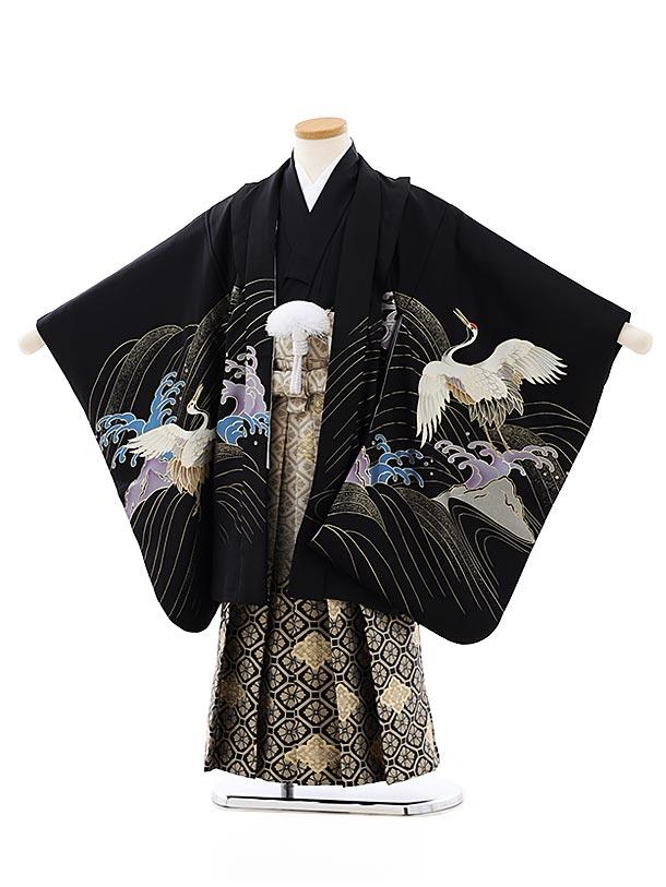 七五三レンタル(5歳男袴)5846黒地波に鶴xベージュぼかし袴